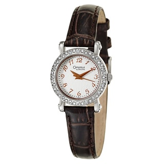 Caravelle by Bulova Women's 'Crystal' Stainless Steel Brown Leather Japanese Quartz Watch