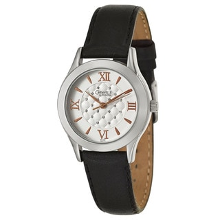 Caravelle by Bulova Women's 'Crystal' Black Leather Japanese Quartz Watch