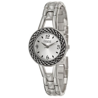 Caravelle by Bulova Women's 'Dress' Stainless Steel Black/ Silvertone Bezel Watch