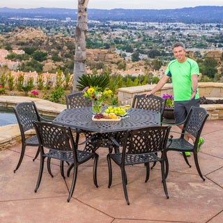 Cool  Discount Christopher Knight Home Hallandale Newcastle piece Cast Aluminum Bronze Outdoor Dining Set Reviews