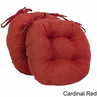 Blazing Needles 16x16-inch Round Microsuede Dining Chair Cushions (Set of 2)