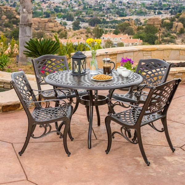... Sarasota 5 Pc Cast Aluminum Bronze Outdoor Dining Set Patio Furniture