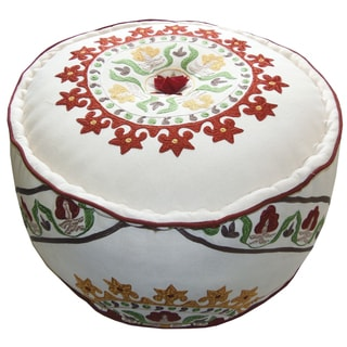 Celebration Suzani Embroidered Pouf Ottoman