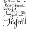 Don't Wait For The Perfect Moment ...Take The Moment And Make It Perfect!' Vinyl Art Quote