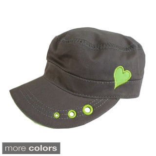 Womens Cadet Style Adjustable Size with Embroidered Heart Hat