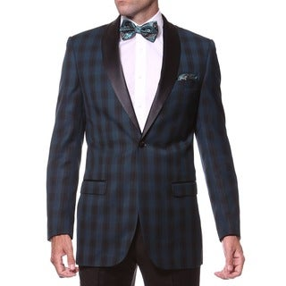 Zonettie Men's Slim Fit Teal and Black Shawl Collar Tuxedo Blazer