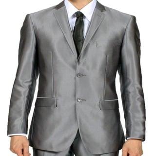 Ferrecci Mens Slim Fit Grey Charcoal Shiny Sharkskin Suit