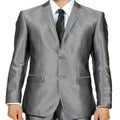 Ferrecci Mens Slim Fit Grey Charcoal Shiny Sharkskin Suit