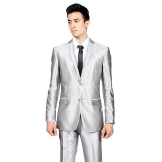 Ferrecci Mens Slim Fit Shiny Silver Sharkskin Suit
