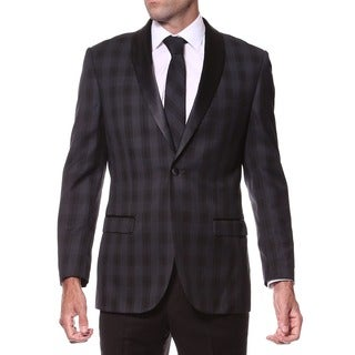 Zonettie Men's Slim Fit Charcoal Plaid Shawl Collar Tuxedo Blazer