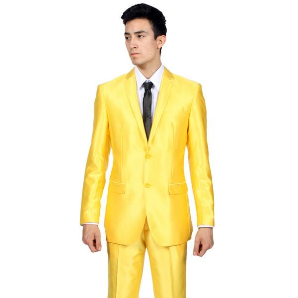 Ferrecci Mens Slim Fit Shiny Yellow Sharkskin Suit