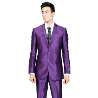 Ferrecci Mens Slim Fit Shiny Purple Sharkskin Suit