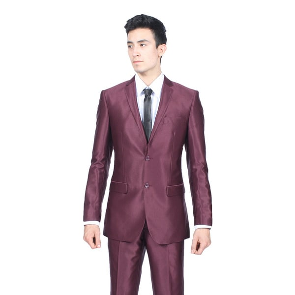 Ferrecci Mens Slim Fit Shiny Burgundy Sharkskin Suit
