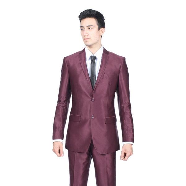 Ferrecci Mens Slim Fit Shiny Burgundy Sharkskin Suit