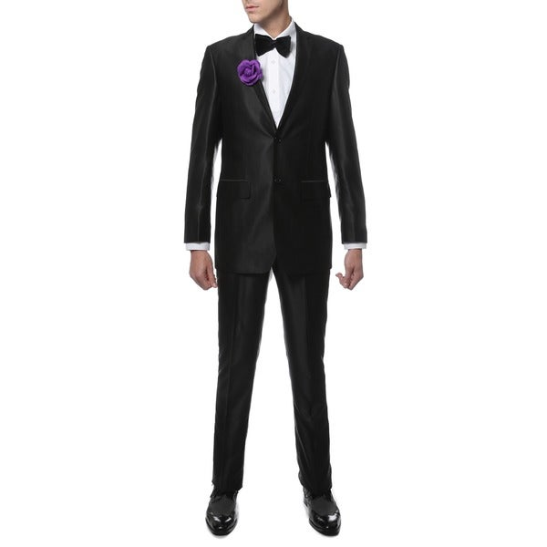 Ferrecci Mens Slim Fit Shiny Black Sharkskin Suit