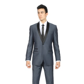 Zonettie Men's Slim Fit Navy/ Blue Shawl Collar Tuxedo Suit