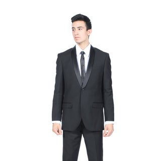 Zonettie by Ferrecci Men's Slim Fit Black Shawl Collar Tuxedo Suit