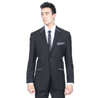 Ferrecci Men's Slim Fit Black and Grey 2-button Blazer