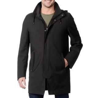 Nautica Men's Grey Hooded Raincoat with Removable Quilted Lining