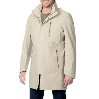 Nautica Men's Stone Hooded Raincoat with Removable Lining