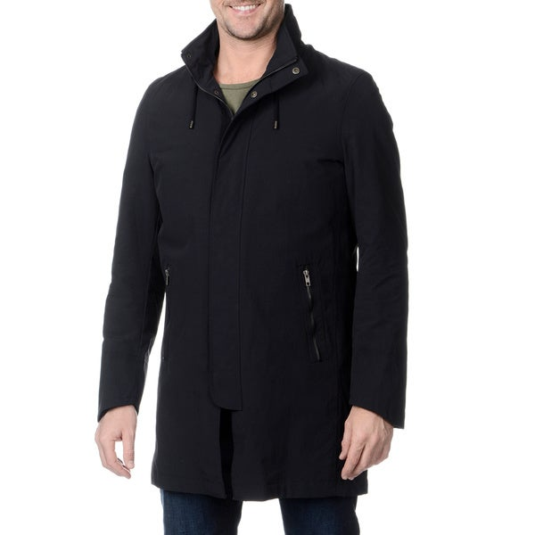 Nautica Men's Navy Hooded Raincoat with Removable Lining 40R in Navy (As Is Item)