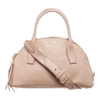 Miu Miu 'Madras' Nude Textured Leather Dome Satchel