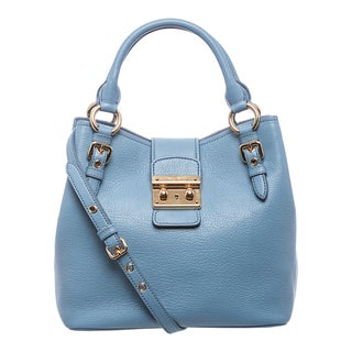 Miu Miu 'Madras' Sky Blue Textured Leather Tote