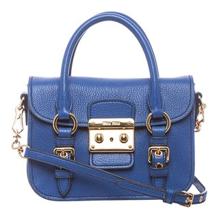 Miu Miu 'Madras' Mini Cobalt Leather Crossbody Bag