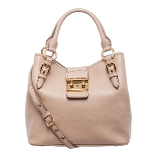 Miu Miu 'Madras' Nude Textured Leather Tote