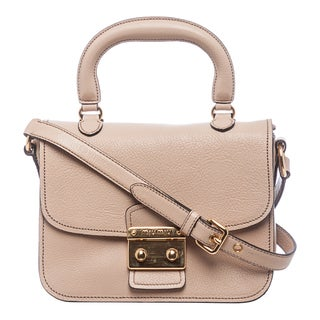 Miu Miu 'Madras' Nude Textured Leather Shoulder Bag