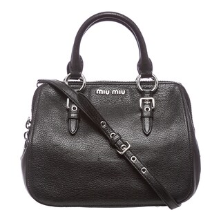 Miu Miu 'Madras' Black Leather Top-handle Bowling Bag