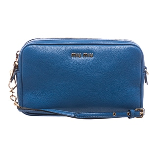 Miu Miu Cobalt Blue Leather Double-zip Crossbody