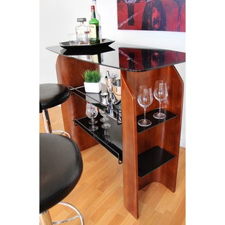 Ladder Bent Walnut Wood Home Bar