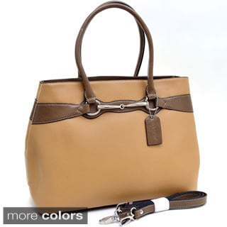 Dasein Two-tone Silvertone Metal Accent Shoulder Bag