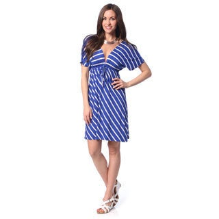Hadari Women's Royal Blue Striped Empire Dress