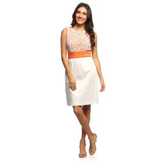 London Times Women's Lace Bodice Dress