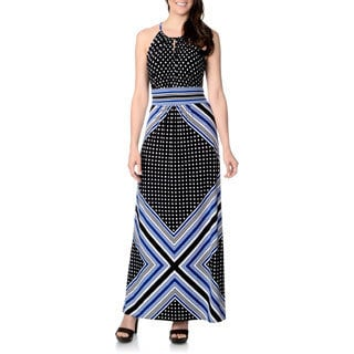 London Times Women's Dots and Stripes Mixed Print Maxi Dress