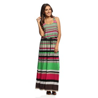 London Times Women's Stripe Blouson Maxi Dress