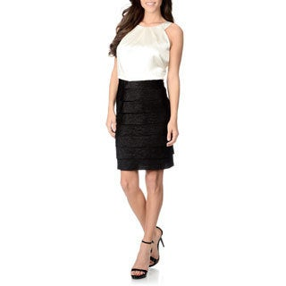 London Times Women's Multi-tiered Blouson Dress