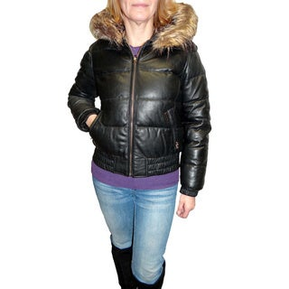 Sean John Women's Black Leather Puffer Jacket