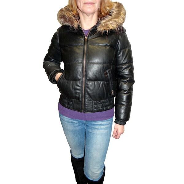 Sean John Women's Black Leather Puffer Jacket