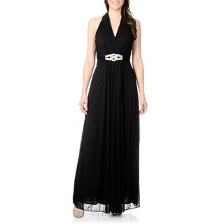 Cachet Women's Black Rhinestone Belt Halter Gown
