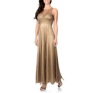 Cachet Women's Bronze Sequin Mesh Gown