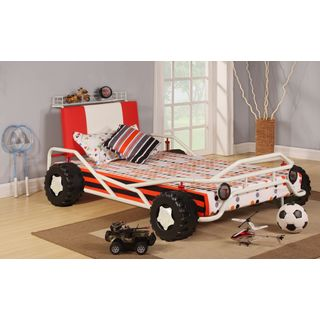 White Metal Twin-size Car Bed