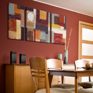Studio 212 'Intensity' 30x60-inch Triptych Textured Canvas Art Print