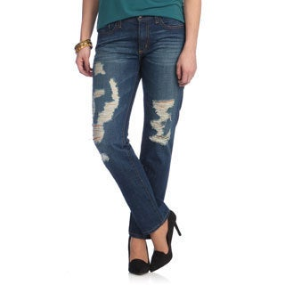 O2 Denim Women's Medium Wash Distressed Denim Jeans