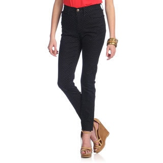 Women's Navy Polka-dot Denim High-waist Jeans
