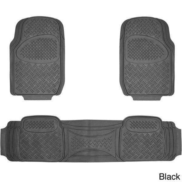 Oxgord Diamond Rugged 3-piece All Weather Rubber Floor Mat Set