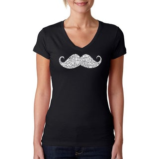 Los Angeles Pop Art Women's 'Moustache' Black V-neck T-Shirt