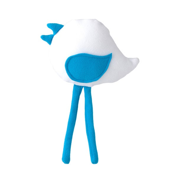 Superflykids 'Petey' White/ blue Small Plush Bird Toy